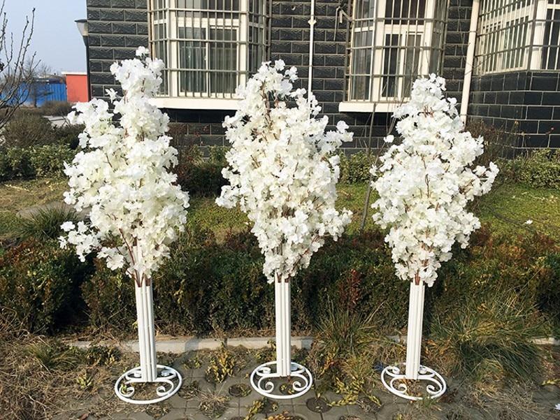 5 pcs/lot 5ft hauteur blanc artificiel cerisier fleur arbre romain colonne route conduit pour décor de mariage centre commercial ouvert accessoires
