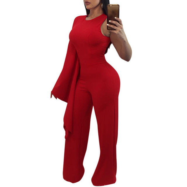 0ca3a09a1f New Sexy Personality Single Long Sleeve Jumpsuit Women Solid Wide Leg Pants  Slim Playsuit Rompers Lady