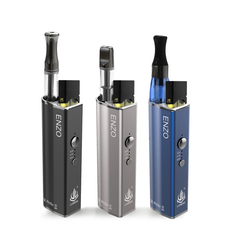 E Cig New CBD Vape Cartridge Battery LVSMOKE 4 In 1 ENZO Vape Vapor Kit 450mah Vape Pen Battery Box Mod Fit For Pod
