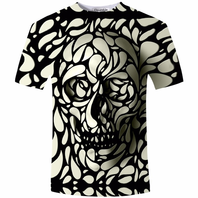 New Design Skull 3d Print Men tshirt Fashion 3D Skull T-Shirt Summer Short  Sleeve