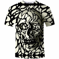 New Design Skull Print Mens Tshirt Fashoin 3D T Shirt Summer Short Sleeve Casual Breathable Tops
