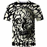 Nuevo Diseño Del Cráneo de Impresión 3d Hombres camiseta de La Manera 3D Del Cráneo T-Shirt verano de Manga Corta Casual Homme Transpirable Tops Camiseta Más Tamaño 5XL