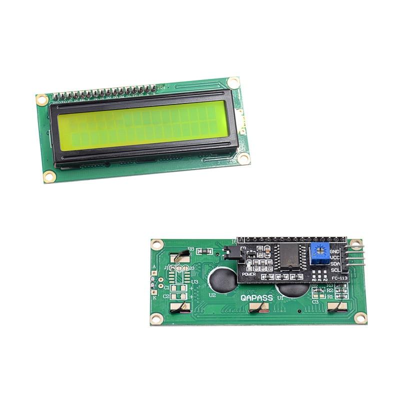 5pcs/lot LCD1602 + I2C LCD 1602 module Yellow screen IIC/I2C for ar-duino
