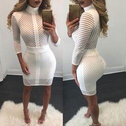 Sexy Women Elegent White Slim Bodycon Bandage Evening Party Long Sleeve Lace Pencil Dress 5