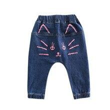 Jeans 2018 Winter Girls Jeans Kids Pants Cartoon Pattern Design Children's Denim Trousers Kids Blue Pants Plus Velvet Warm 1-7T new arrival girls with velvet pants girl s jeans trousers thick warm color girls jeans kids jeans 6 10y