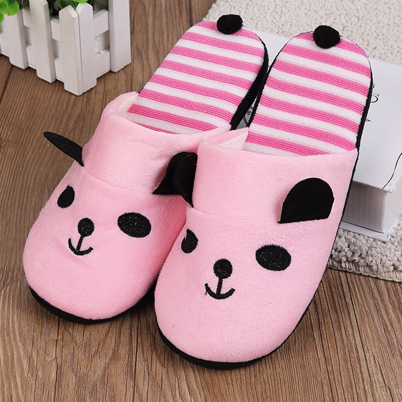 Women Cotton Warm Home Slippers Non-Slip Cute Cartoon Panda Soft Slippers Autumn Winter Comfortable Indoor Fur Shoes