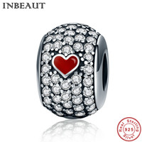 INBEAUT 925 Sterling Silver Red Heart Charm For Teen Girls Love Chain Bracelet Charms Bead Fit