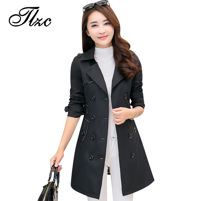 TLZC New Double Breasted Women Trench Coats Plus Size M-4XL 2017 Popular Winter Autumn Spring Black / Khaki Lady Long Outwear