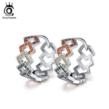 ORSA JEWELS Hoop Earrings For Women Rainbow Colorful Shiny CZ Hollowed Circle Brincos Grandes Earring Fashion Jewelry Gift OE208