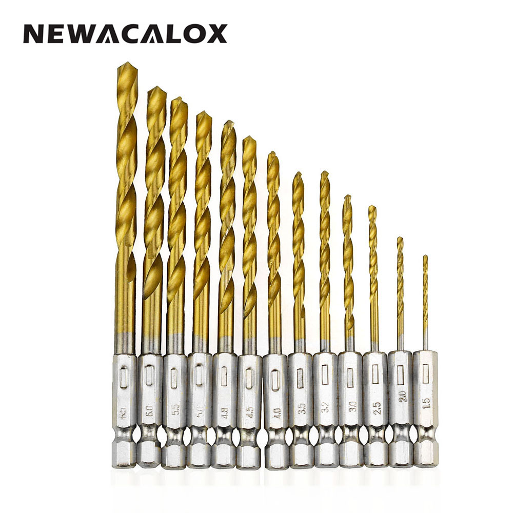 NEWACALOX Tungsten Carbide Twist Drill Bit Power Tool High Speed Steel HSS Titanium Coated Drill Bit Set 1/4 Hex Shank 1.5-6.5mm 15 pieces titanium coated hss twist drill bit set with 1 4 hex shank for metal power tool accessories 3 0 5 0mm