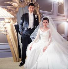 Vestidos de Noiva Long Sleeves Lace Chinese Wedding Dresses Long Train Angelababy's Bride Gowns Elegant Stunning Robe de Mariage