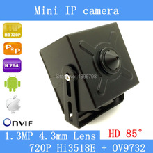 720P mini ip camera ip mini 1.0MP ONVIF HD H.264 P2P Mobile Phone Surveillance With Audio CCTV IP Camera 4.3mm Pinhole lens