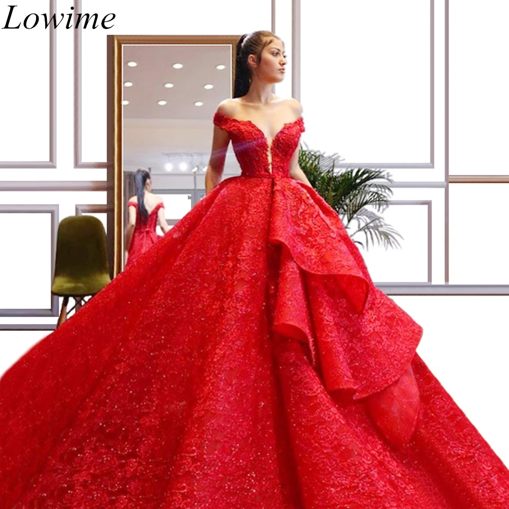 2019 New Luxury Red Lace Evening Dresses A-Line Off Shoulder Lace-Up Beading Evening Red Carpet Runaway Celebrity Gowns Custom