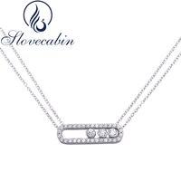 Slovecabin Heißer Verkauf 925 Sterling Silber Zirkon Bewegen Halskette Für Frauen Mit Zirkon Doppel Gliederkette Bewegen Halskette Für Frauen