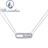 France Hot Sale 925 Sterling Silver Pave Zircon Move Necklace For Women With Zircon Double Link