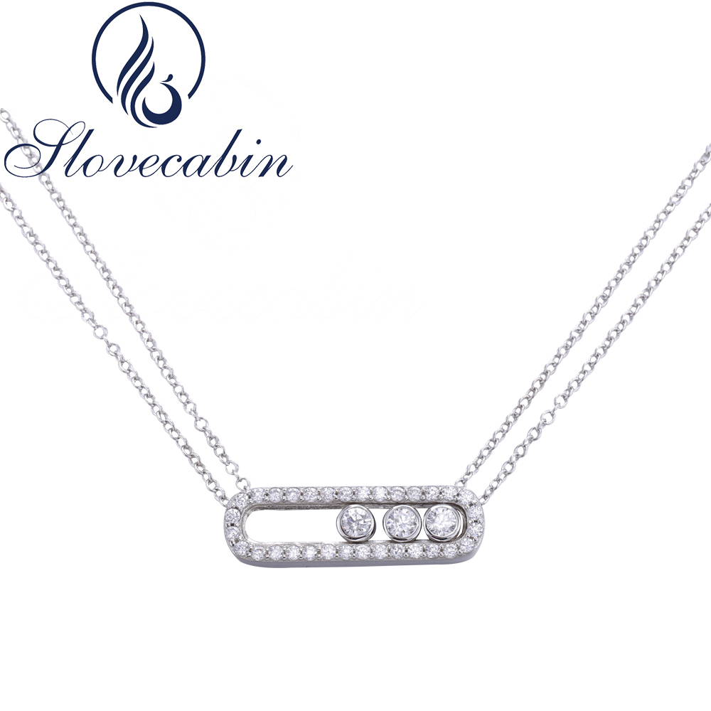 Slovecabin Hot Sale 925 Sterling Silver Zircon Move Necklace For Women With Zircon Double Link Chain Move Necklace For Women