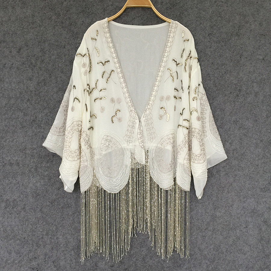 Cream colored Cardigan chiffon boho Blouses Handmade beaded tassel Embroidery Casual summer blouse Women Brand Clothing