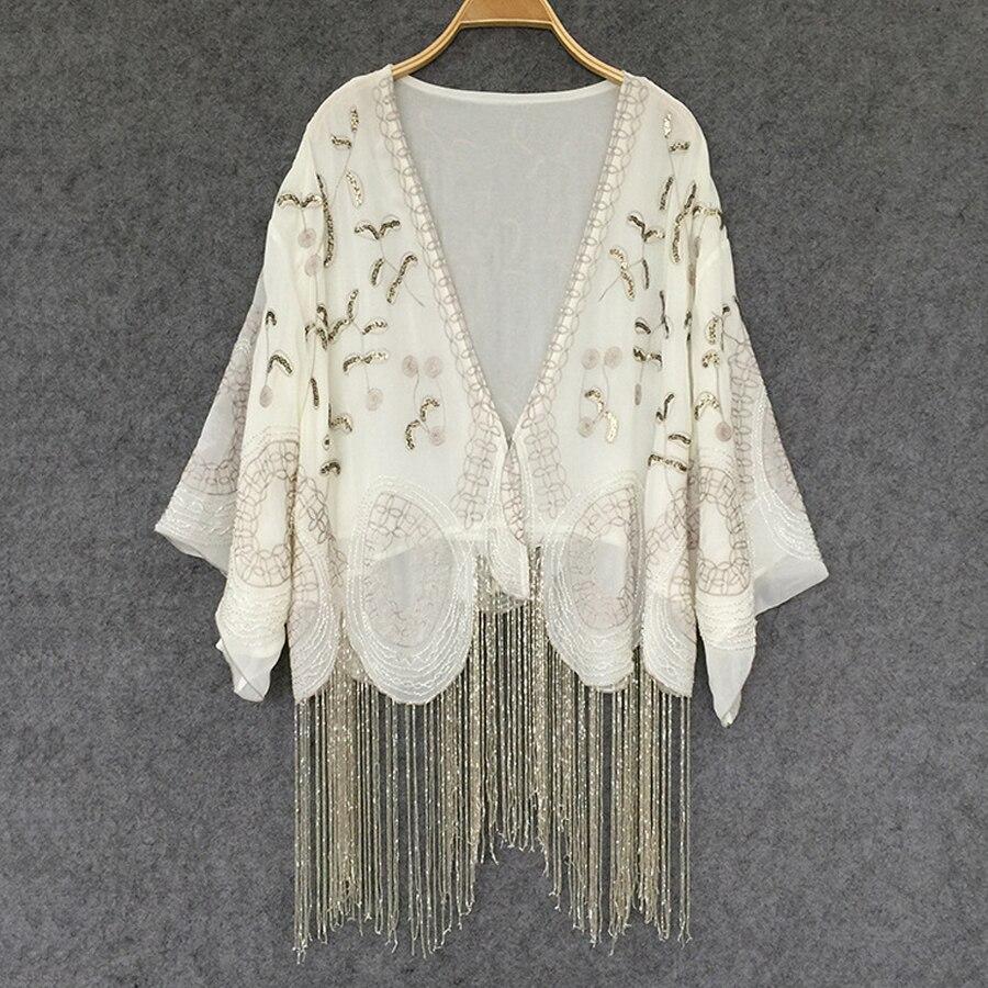 Couleur crème Cardigan en mousseline de soie boho Blouses à la main perlé gland broderie décontracté été blouse femmes marque vêtements blusas
