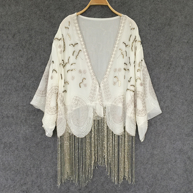 2fd93b840d US $49.78 38% OFF|Cream colored Cardigan chiffon boho Blouses Handmade  beaded tassel Embroidery Casual summer blouse Women Brand Clothing  blusas-in ...
