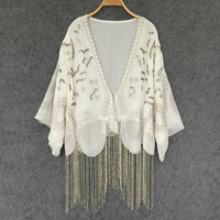 Cream colored Cardigan chiffon boho Blouses Handmade beaded tassel Embroidery Casual summer blouse Women Brand Clothing blusas