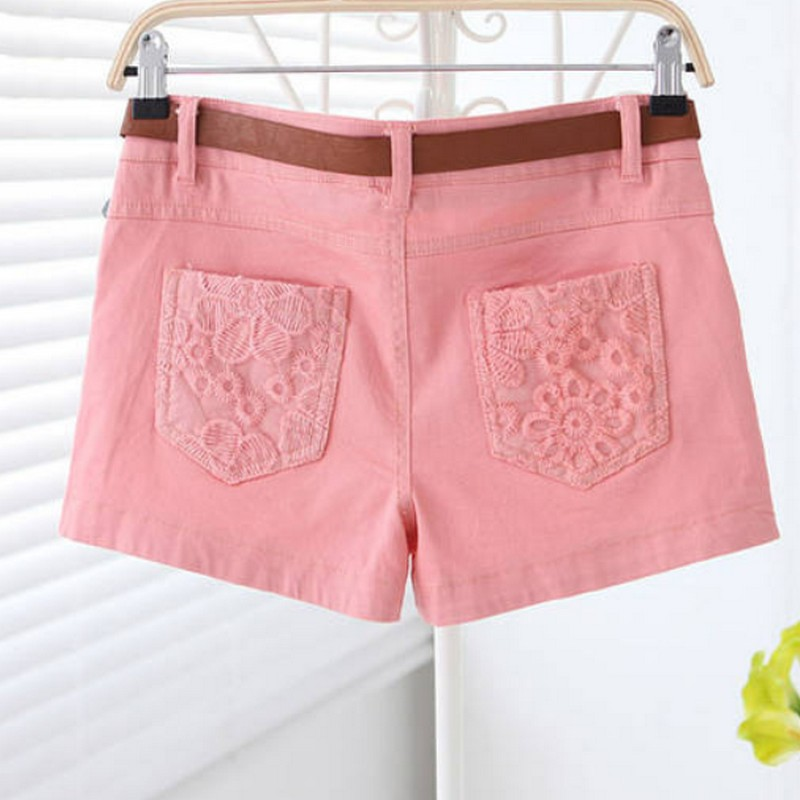 2017 Summer New Fashion Hot Shorts Candy Colored Sweet Lady Lace Embroidery Stitching Casual Shorts Women Plus Size S-XL