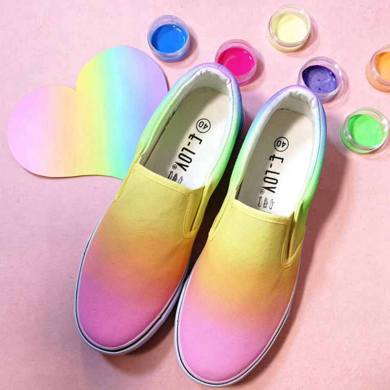 Top Brand Luxury Designer Canvas Rainbow Color Casual Flat Shoes Hand Painted Colorful Shoes Loafers Low Top Slip on