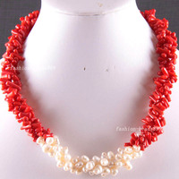 Free Shipping Fashion Jewelry Natural Stone Red Sea Coral Pearl Beads Weave Necklace 19 E825