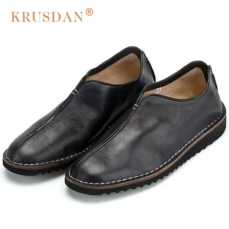KRUSDAN New Comfortable Flat Platform Man Casual Shoes Genuine Leather Handmade Loafers Round Toe Slip on Men's Footwear OQ39