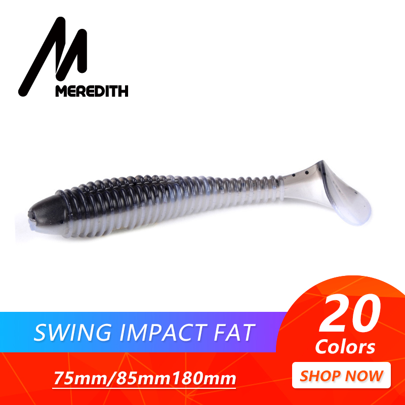 MEREDITH Swing Impact FAT Fishing Lures 75mm 85mm 180mm Paddle Tail Lures Wobbler Fishing soft Lure For bass Silicone Bait 50pcs new wifreo soft lure loader locker connector fishing worm hook bait accessories for bass fishing wholesale