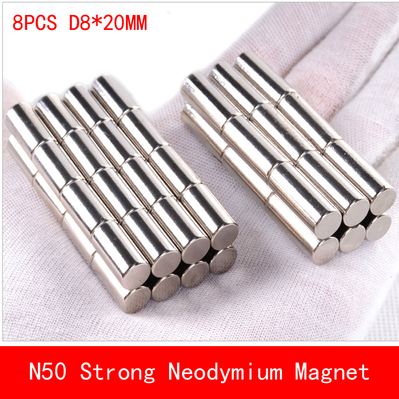wholesale 8PCS D8 20mm round N50 Strong magnetic force rare earth Neodymium magnet N50 diameter 8X20MM in Magnetic Materials from Home Improvement