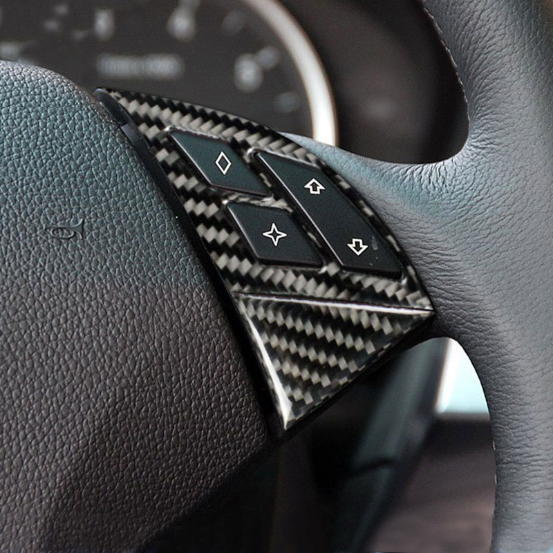 Car <font><b>Interior</b></font> Accessories Carbon Fiber Steering wheel buttons frame Cover stickers For <font><b>BMW</b></font> 5 Series <font><b>E60</b></font> 2005-2010 Car <font><b>Styling</b></font> image