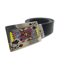 Black Faux Leather Belts For Men High Quality With Metal Poker Cards Spades King Cowboy Belt