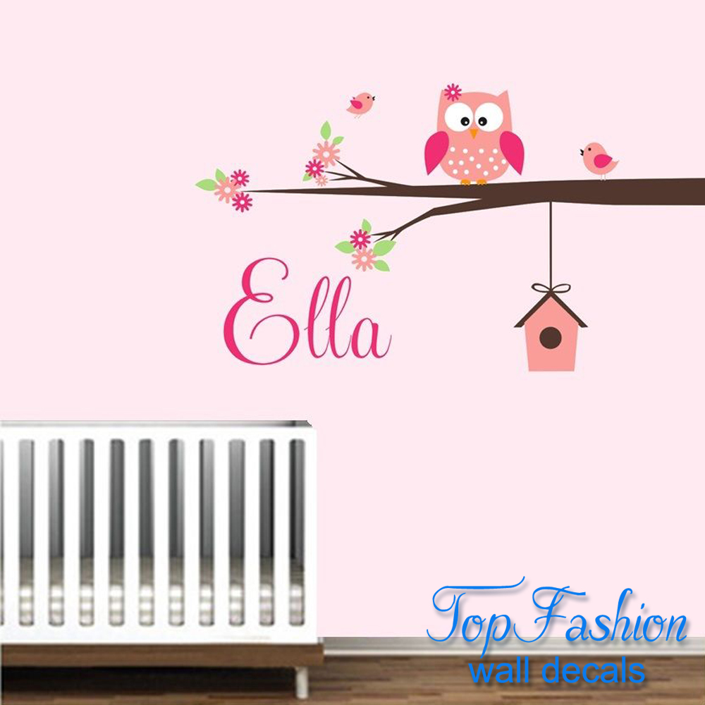 Personalized name owl wall decal with birds birdhouse for Bird and owl tree wall mural set