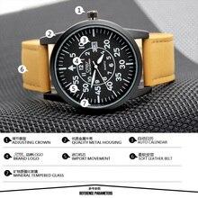 Reloj grande del dial de la correa de cuero genuina del reloj de comercio exterior modelos de explosión de los hombres militar reloj de cuarzo.