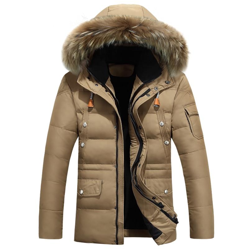 Новинка зимние мужские пуховик 2017 Лидер продаж человек толстые теплые утка зимняя куртка-пуховик парка Повседневное Теплая мужская зимняя куртка