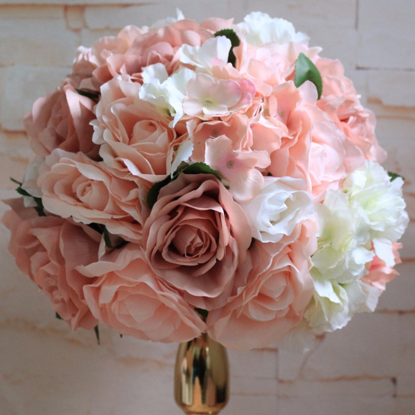 TONGFENG 10PCS/lot Artificial silk rose flowers wedding table centerpiece flowers ball Flower wall wedding backdrop decorations-in Artificial & Dried Flowers from Home & Garden    1