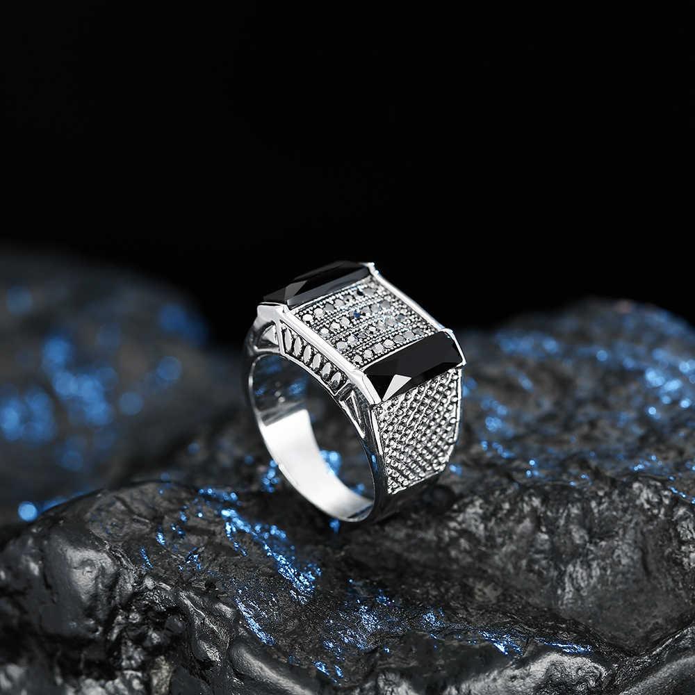 Vintage เงินเรขาคณิตอะคริลิคแหวนหินสำหรับผู้หญิงผู้ชายสีเทาเครื่องประดับ rhinestone แฟชั่นของขวัญวันวาเลนไทน์ J02838