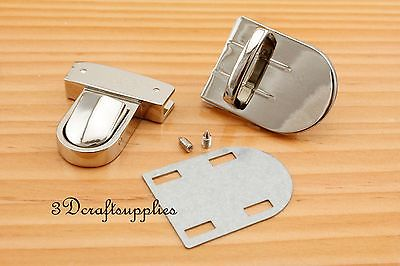 purse lock wallet Thumb latch tongue clasp silver 1 3/8 inch x 1 3/4 inch N35