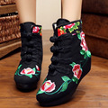 New Autumn winter Embroidery Boots Chinese old Beijing cloth shoes retro ethnic Floral embroidered single boots plus size 41