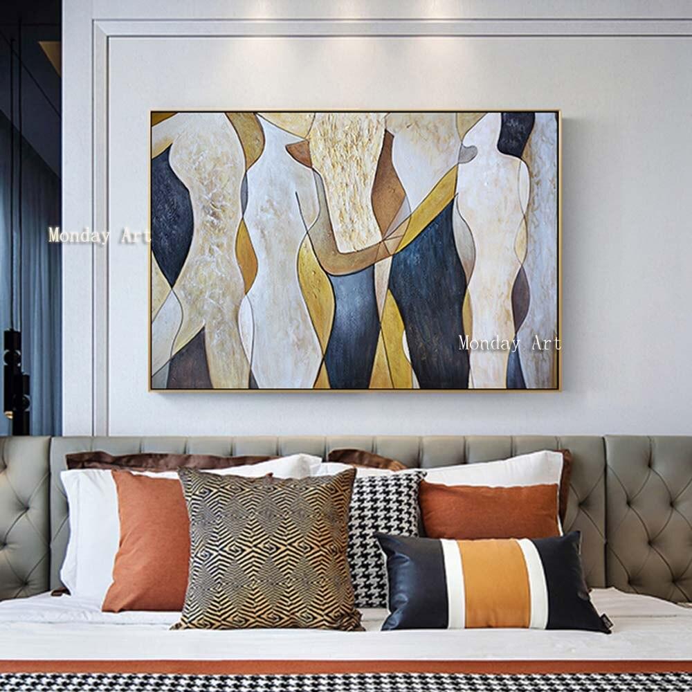 Большая картина, ручная роспись, любовник, дождь, пейзаж, картина маслом на холсте, настенные художественные картины для гостиной, домашний
