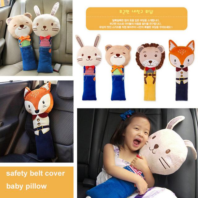 Bonito Travesseiro Do Bebê Assento de Carro Auto Safety Belt Harness Capa Almofada de Ombro de Viagem Crianças Proteção Cobre Almofada de Apoio Travesseiro