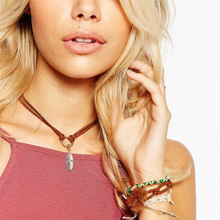 Bohemian Style Leather Metallic Feather Charms Choker Necklace
