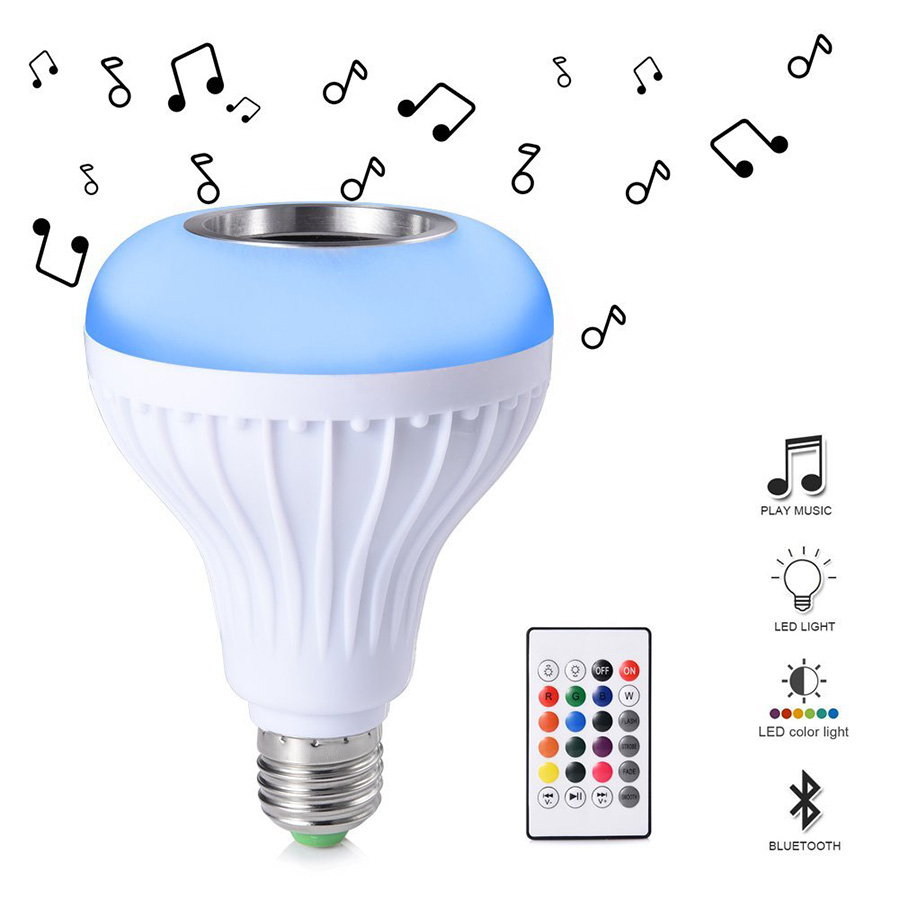 E27 Smart RGB RGBW Wireless Bluetooth Speaker LED Lamp Bulb 85V-265V LED Dimmable Music Playing Lamp With 24 Keys Remote Control