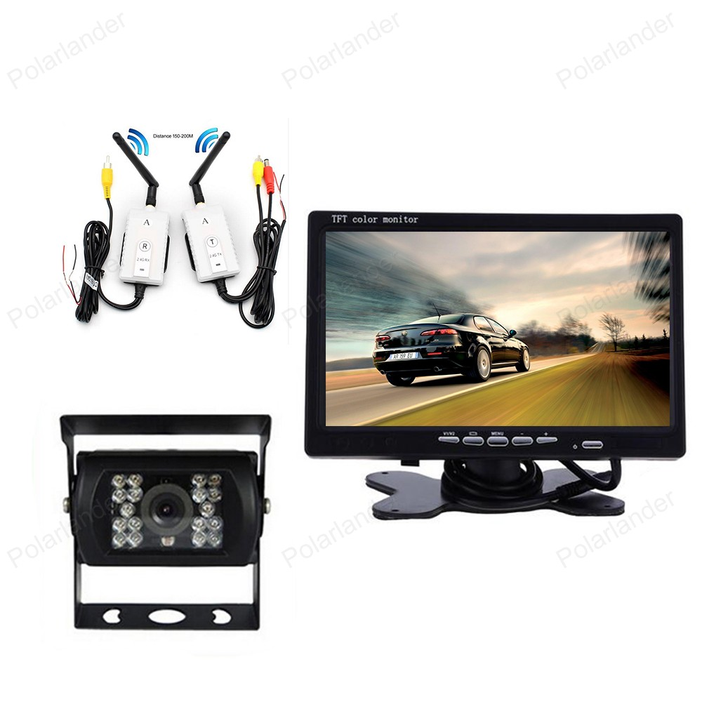 7 Inch LCD car Monitor 800*480 Screen With 18 LED night vision Rear View Camera Wireless parking kit 12V-24V