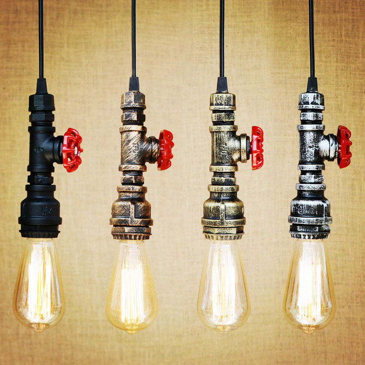 Water Pipe Pendant Light Fixtures Style Loft Industrial Vintage Lamp Hanglamp LED Edison American Retro Pendant Lighting