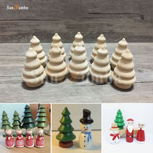 10pcs Wooden Unfinished DIY Craft Peg Dolls Wood Tree Toy Home Arts Sewing Crafts Doll Puppet Bases Christmas Decor