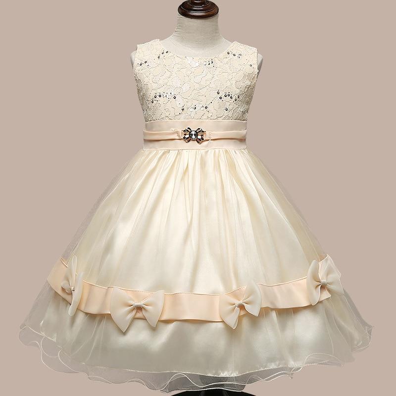 Girls Party Wear Dress Kids 2016 Summer Sleeveless Lace Girls Princess Wedding Dress Teenagers Kids Party