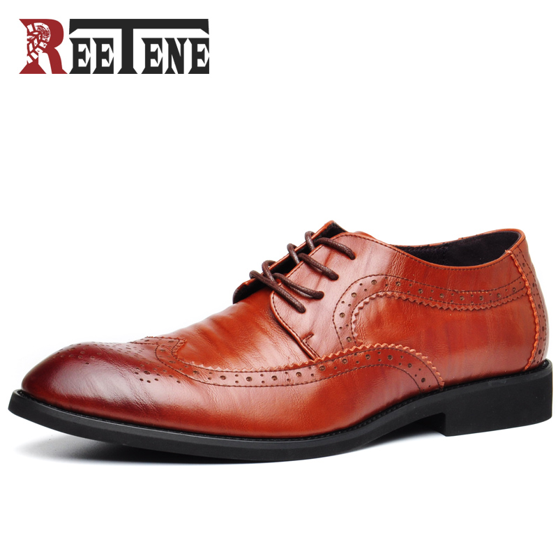 REETENE Genuine Leather Men Shoes High Quality Leather Men Dress Shoes Luxury Business Men'S Shoes Classic Gentleman Shoes Men fashion men shoes genuine leather men casual shoes brand luxury men s business classic gentleman shoes handmade high quality