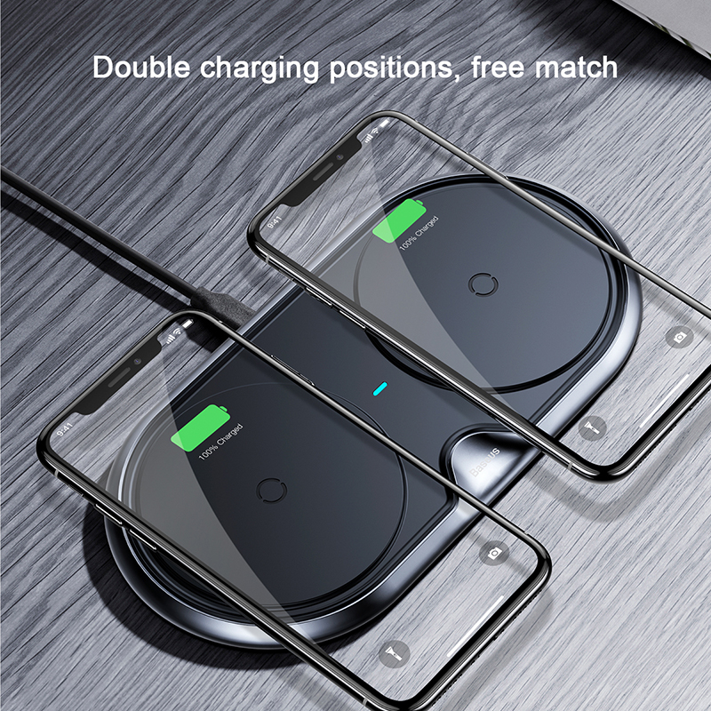 BASEUS Doppia Sella Qi Caricatore Senza Fili 10 w Ricarica Rapida di Due Telefoni Cellulari Allo Stesso Tempo Per il iphone X 8 Samsung nota 9 S9 Universale