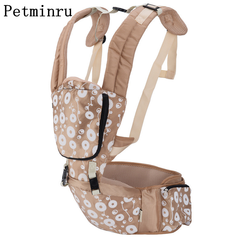 Petminru 3-36 Months Baby Carrier Floral Print Baby Sling Backpack Pouch Wrap Baby Kangaroo Bag цена
